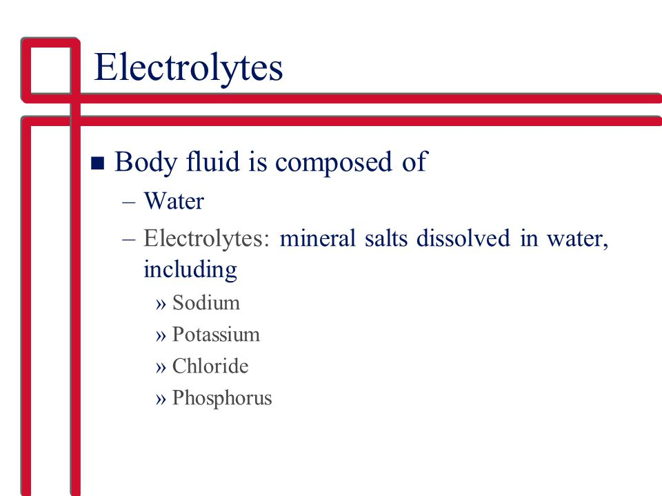 Electrolytes Body fluid is composed of Water