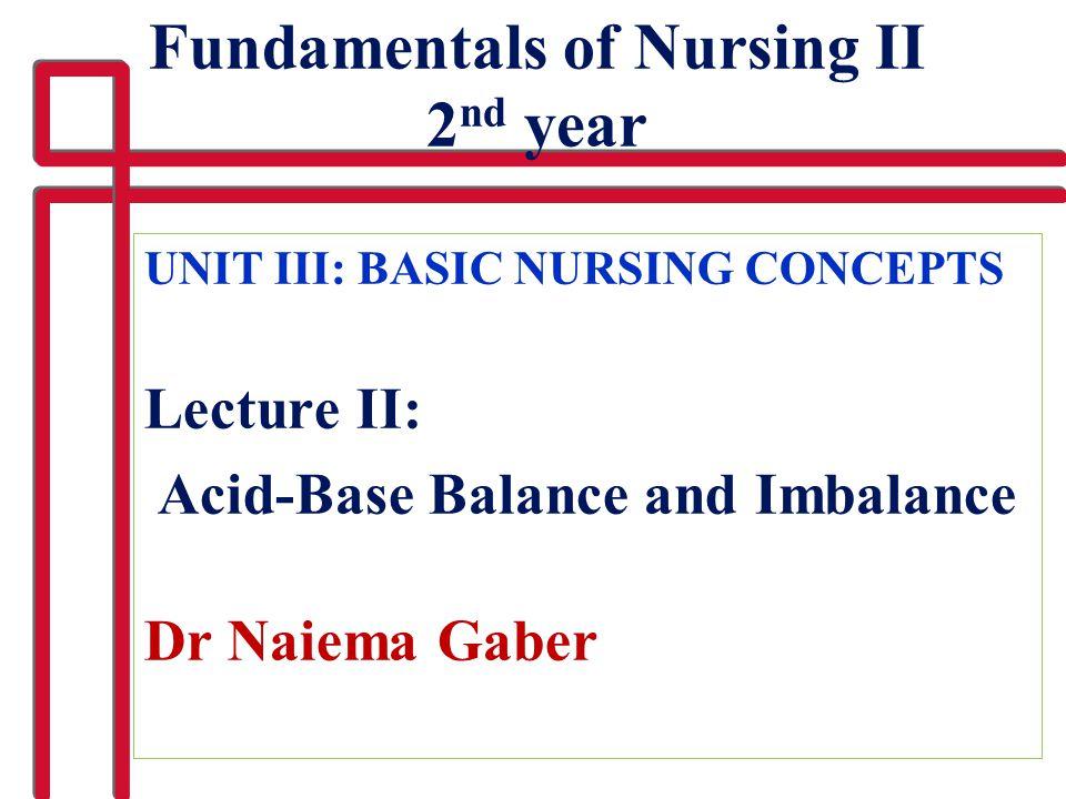Fundamentals of Nursing II 2nd year