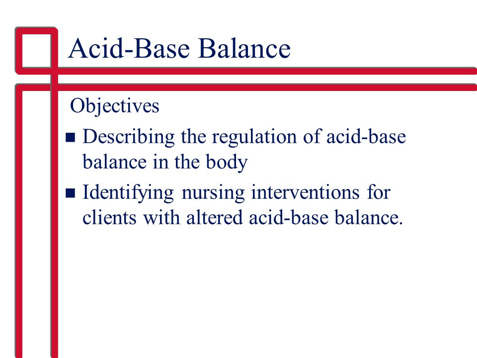 Acid-Base Balance Objectives