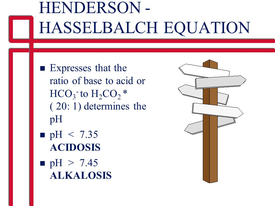 HENDERSON - HASSELBALCH EQUATION
