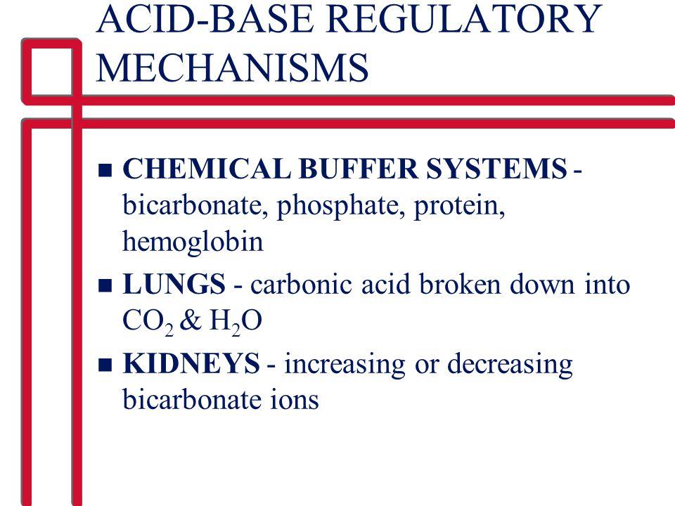 ACID-BASE REGULATORY MECHANISMS