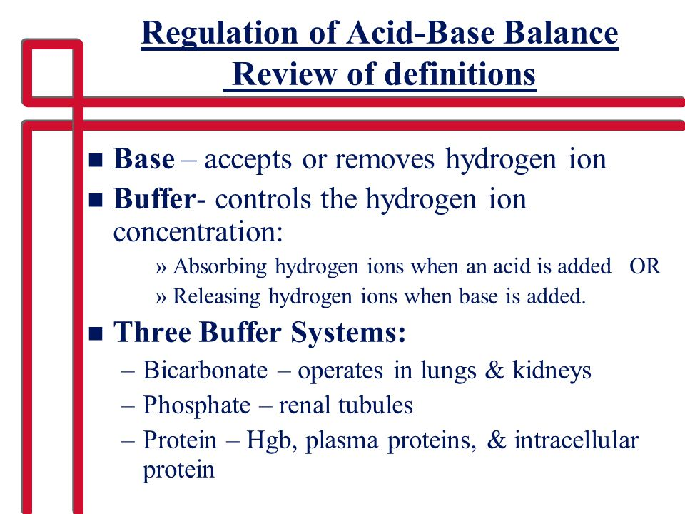 Regulation of Acid-Base Balance Review of definitions
