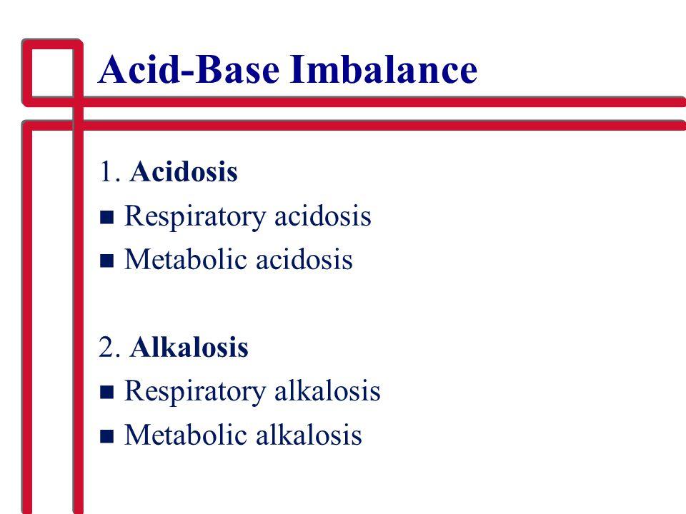 Acid-Base Imbalance 1. Acidosis Respiratory acidosis
