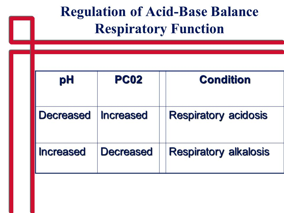 Regulation of Acid-Base Balance Respiratory Function