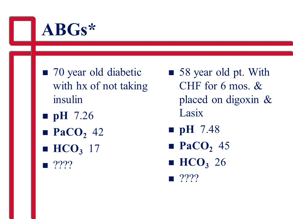ABGs* 70 year old diabetic with hx of not taking insulin pH 7.26