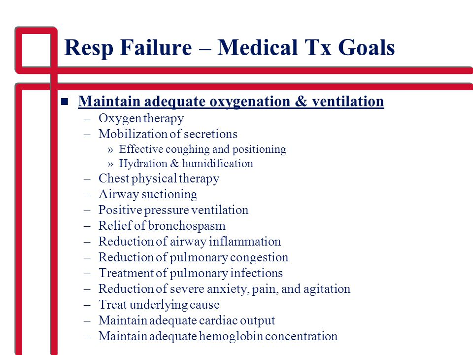 Resp Failure – Medical Tx Goals