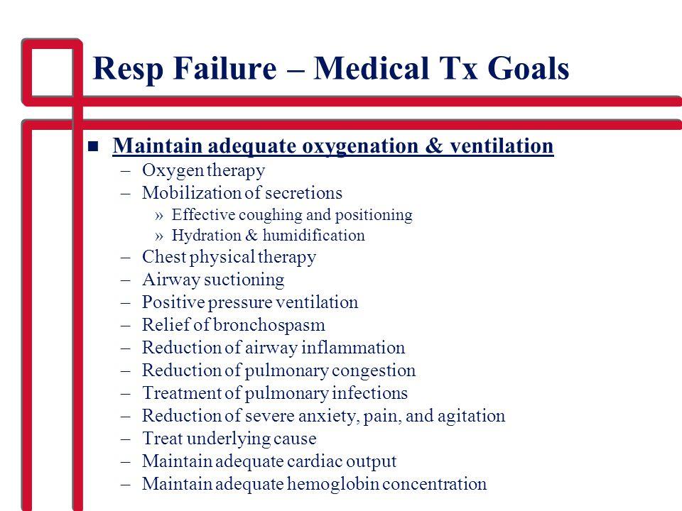 Resp Failure – Medical Tx Goals