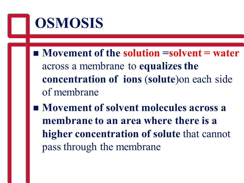 OSMOSIS Movement of the solution =solvent = water across a membrane to equalizes the concentration of ions (solute)on each side of membrane.