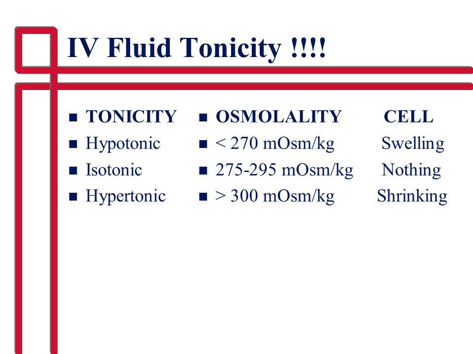 IV Fluid Tonicity !!!! TONICITY Hypotonic Isotonic Hypertonic