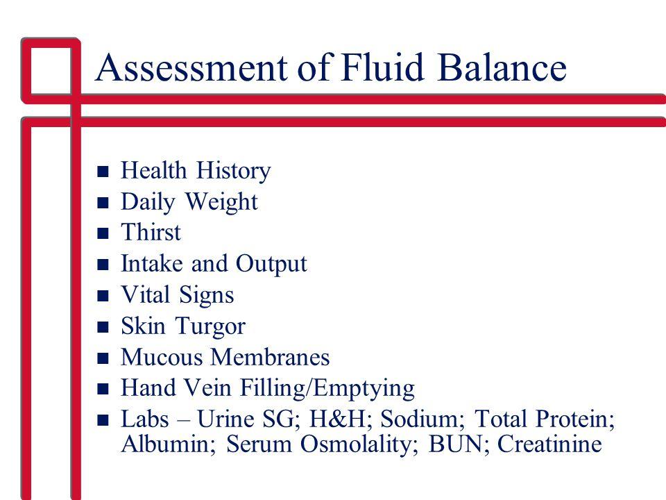 Assessment of Fluid Balance