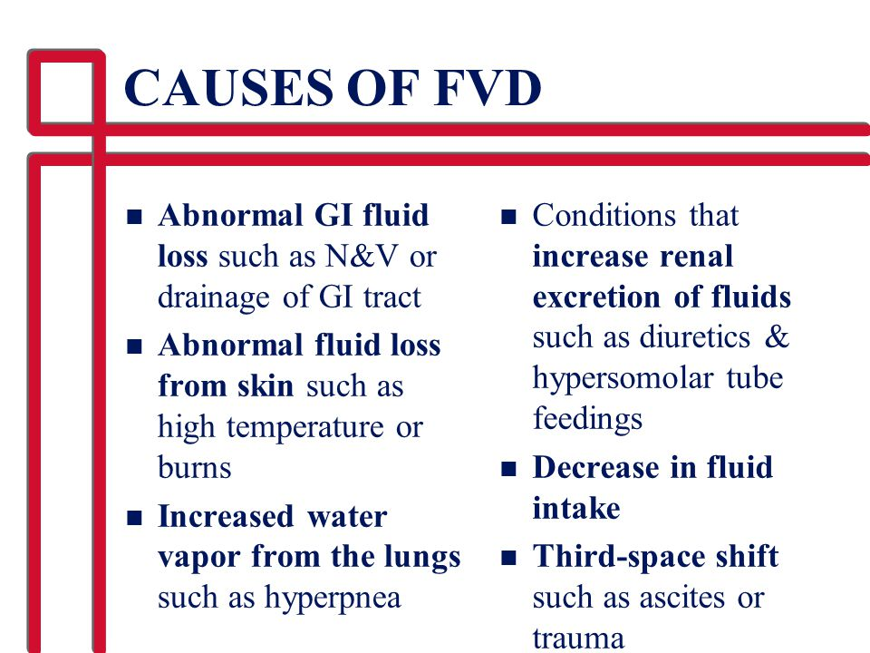 CAUSES OF FVD Abnormal GI fluid loss such as N&V or drainage of GI tract. Abnormal fluid loss from skin such as high temperature or burns.