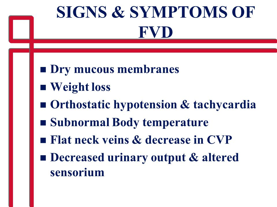 SIGNS & SYMPTOMS OF FVD Dry mucous membranes Weight loss