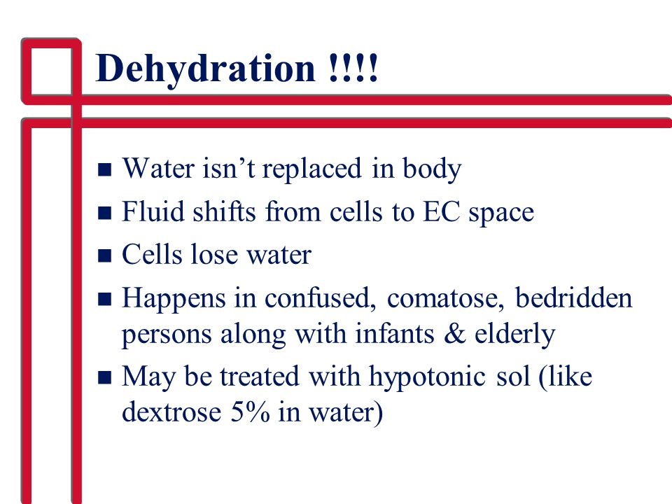 Dehydration !!!! Water isn't replaced in body
