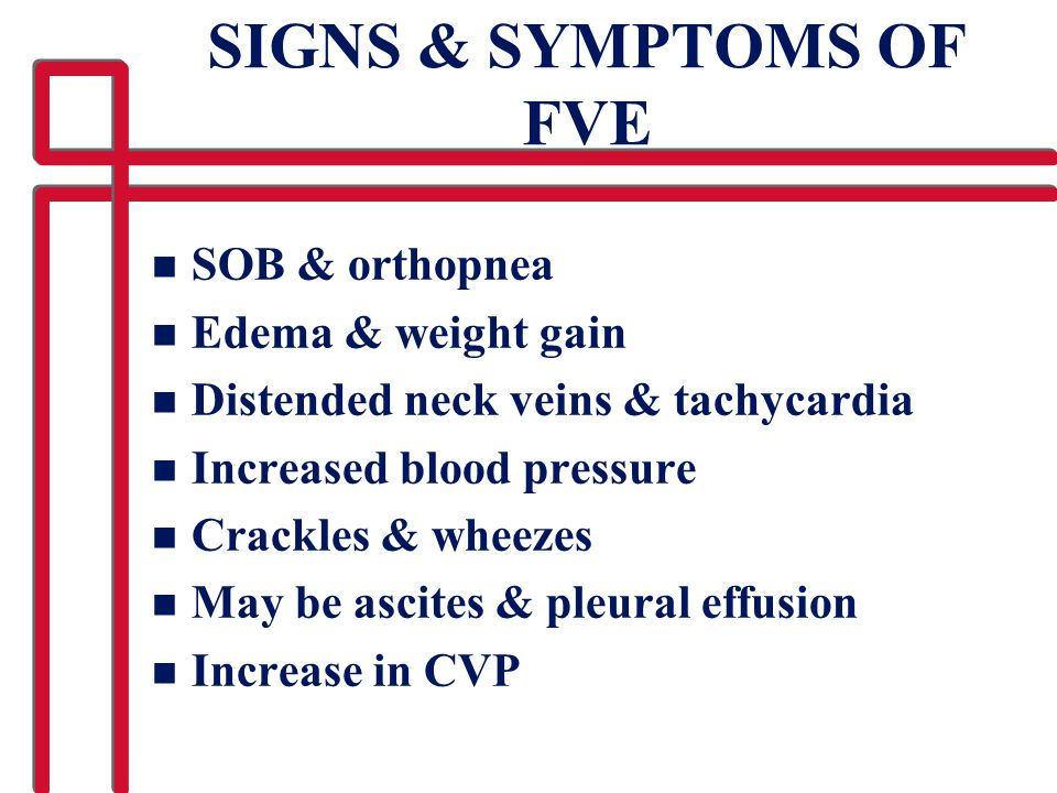 SIGNS & SYMPTOMS OF FVE SOB & orthopnea Edema & weight gain