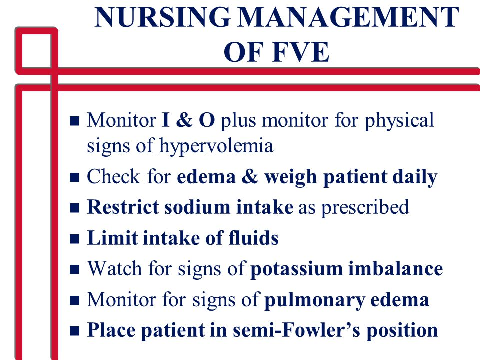 NURSING MANAGEMENT OF FVE