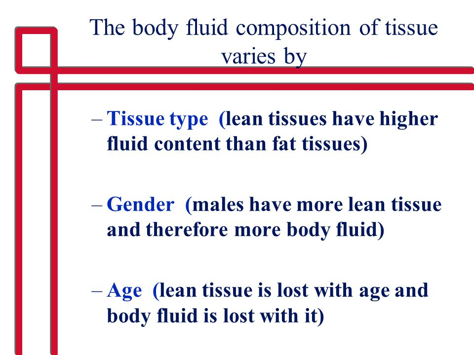 The body fluid composition of tissue varies by