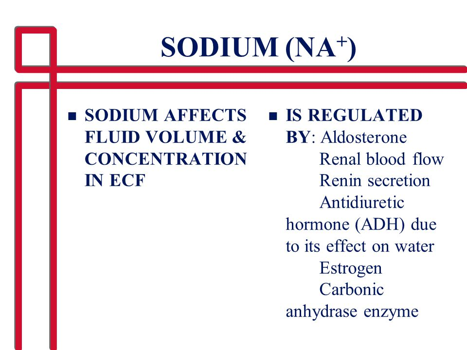 SODIUM (NA+) SODIUM AFFECTS FLUID VOLUME & CONCENTRATION IN ECF