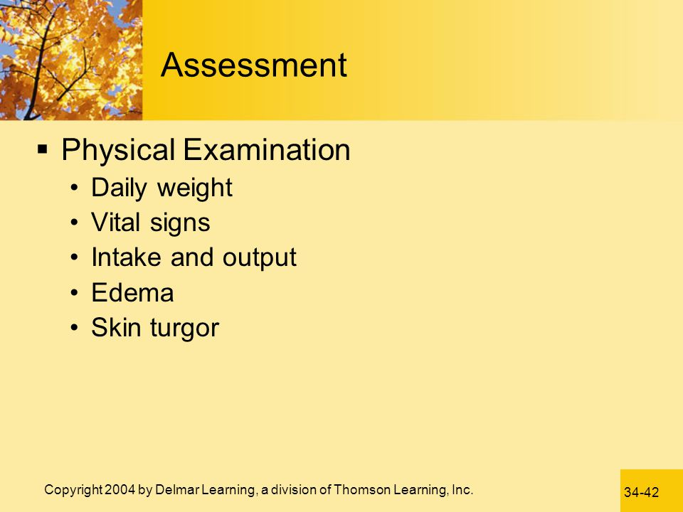 Assessment Physical Examination Daily weight Vital signs
