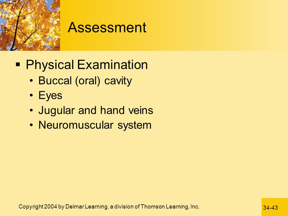 Assessment Physical Examination Buccal (oral) cavity Eyes