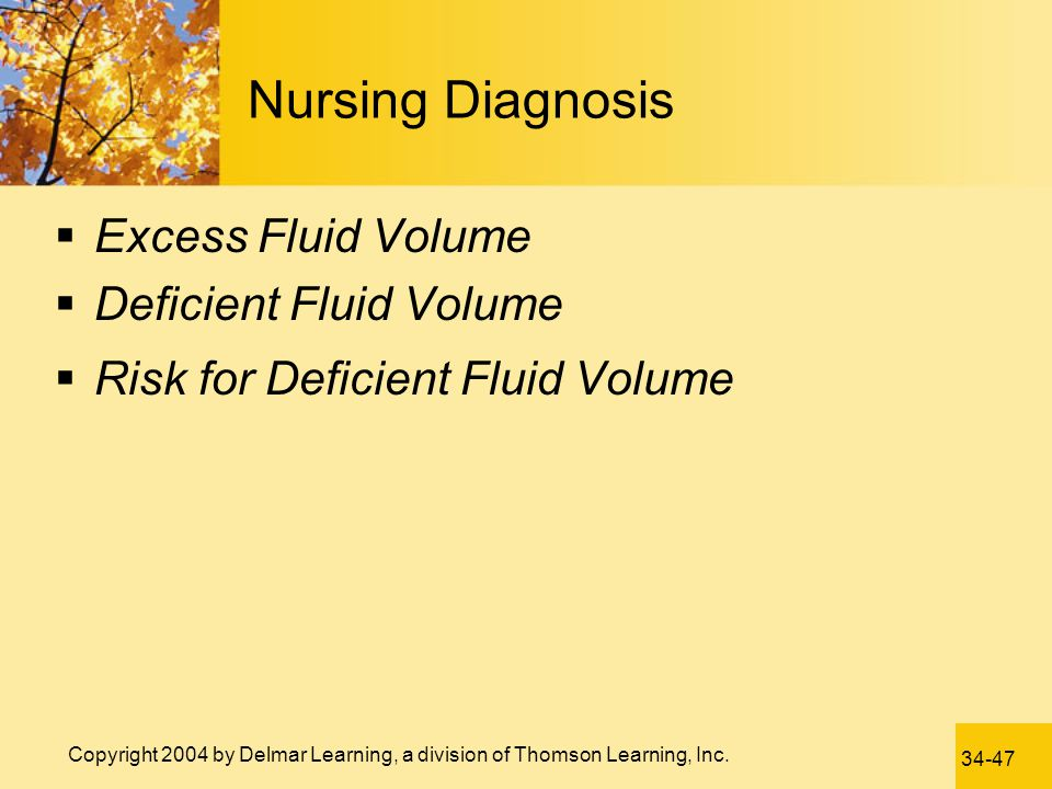 Nursing Diagnosis Excess Fluid Volume Deficient Fluid Volume