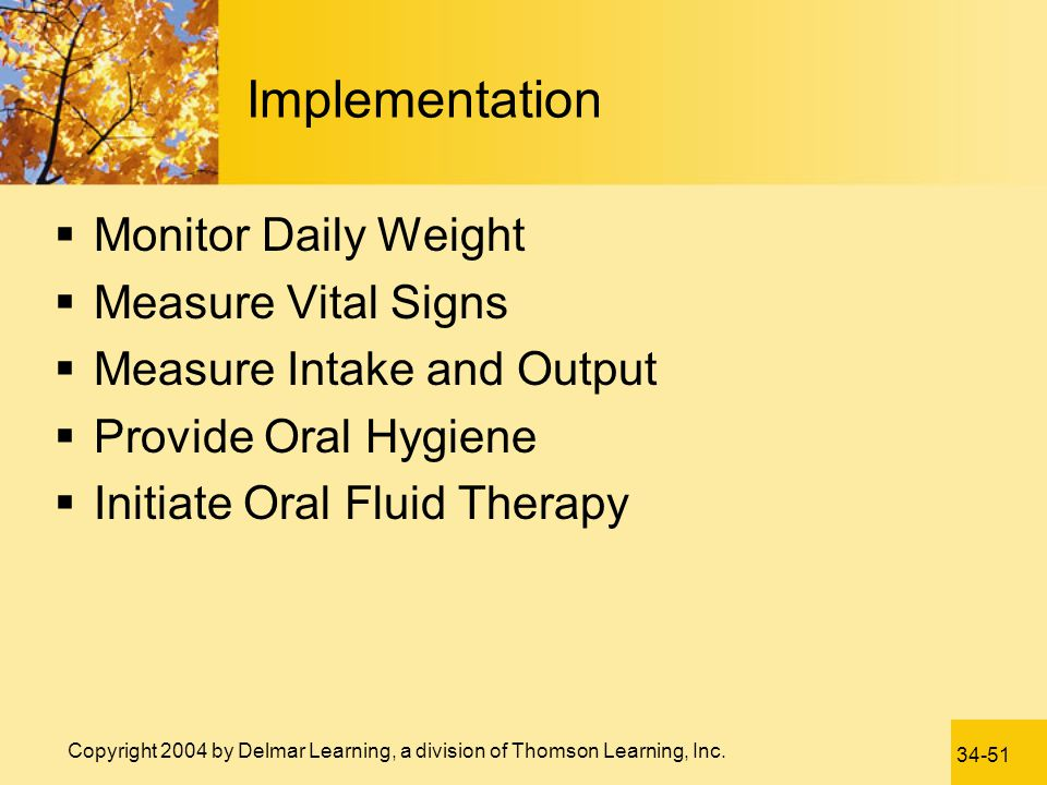 Implementation Monitor Daily Weight Measure Vital Signs