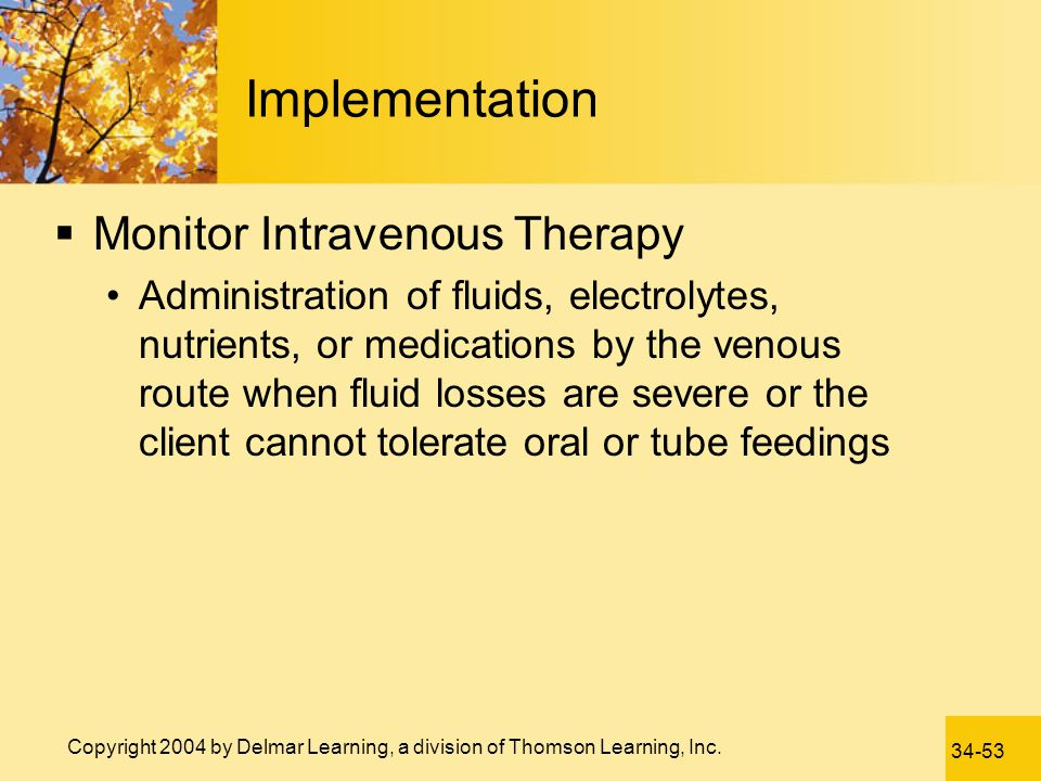 Implementation Monitor Intravenous Therapy