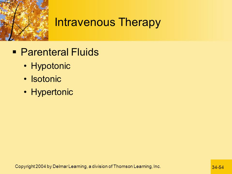 Intravenous Therapy Parenteral Fluids Hypotonic Isotonic Hypertonic