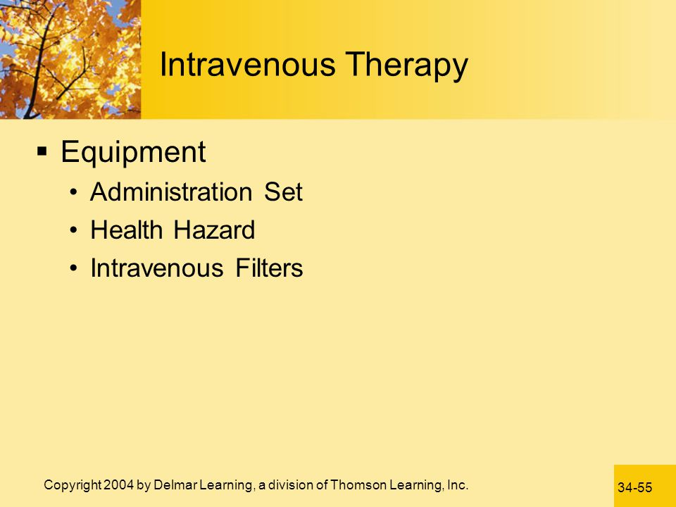 Intravenous Therapy Equipment Administration Set Health Hazard