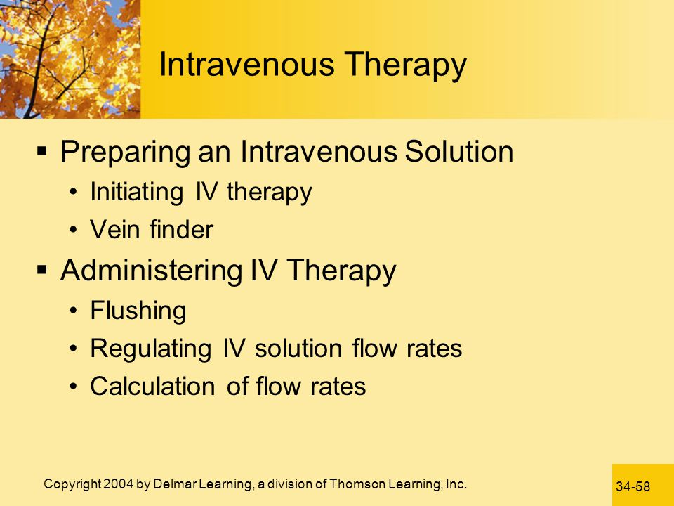 Intravenous Therapy Preparing an Intravenous Solution