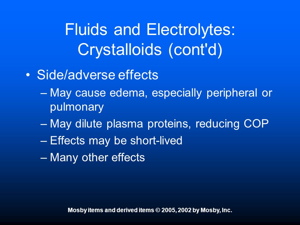 Fluids and Electrolytes: Crystalloids (cont d)
