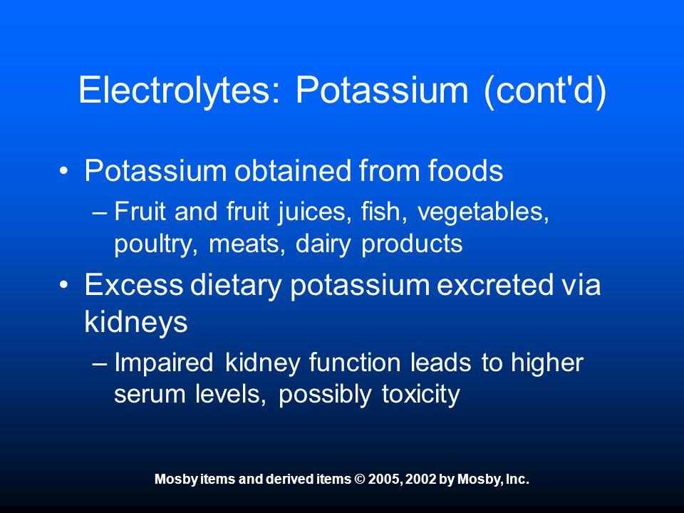 Electrolytes: Potassium (cont d)