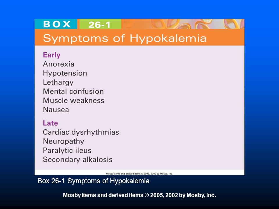 Box 26-1 Symptoms of Hypokalemia