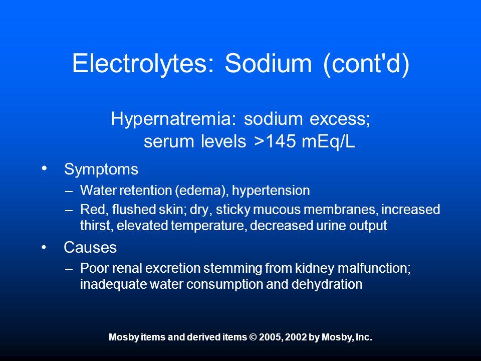 Electrolytes: Sodium (cont d)