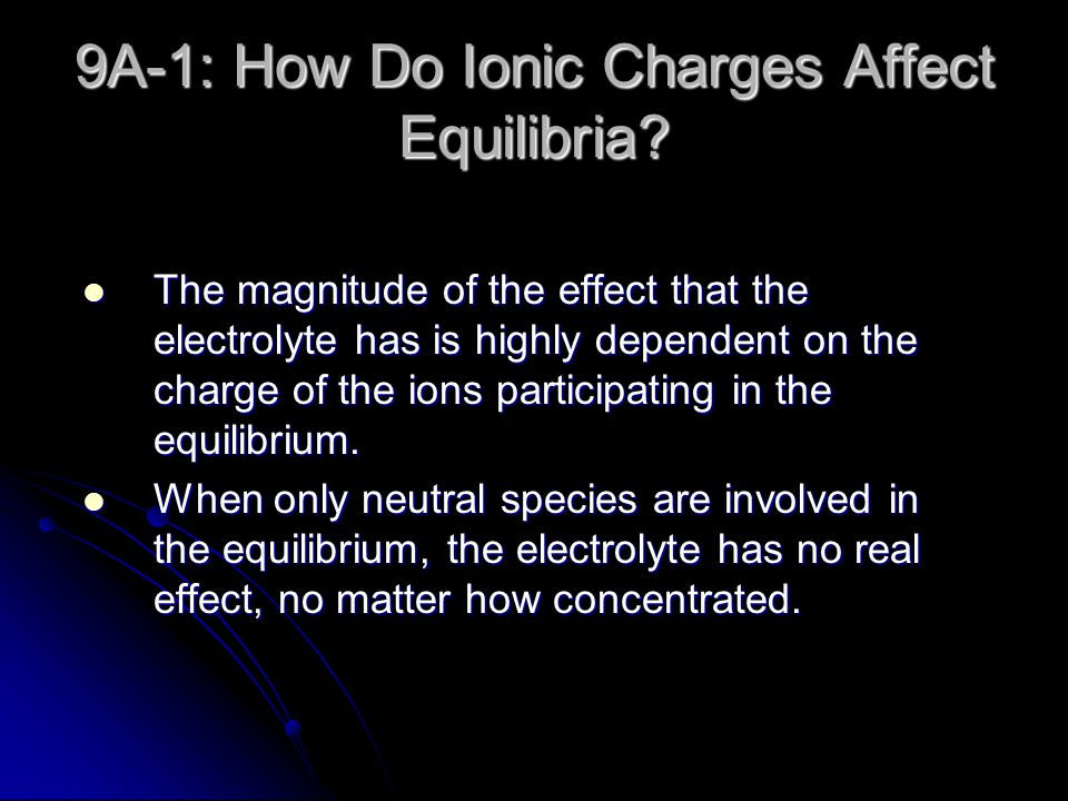 9A-1: How Do Ionic Charges Affect Equilibria