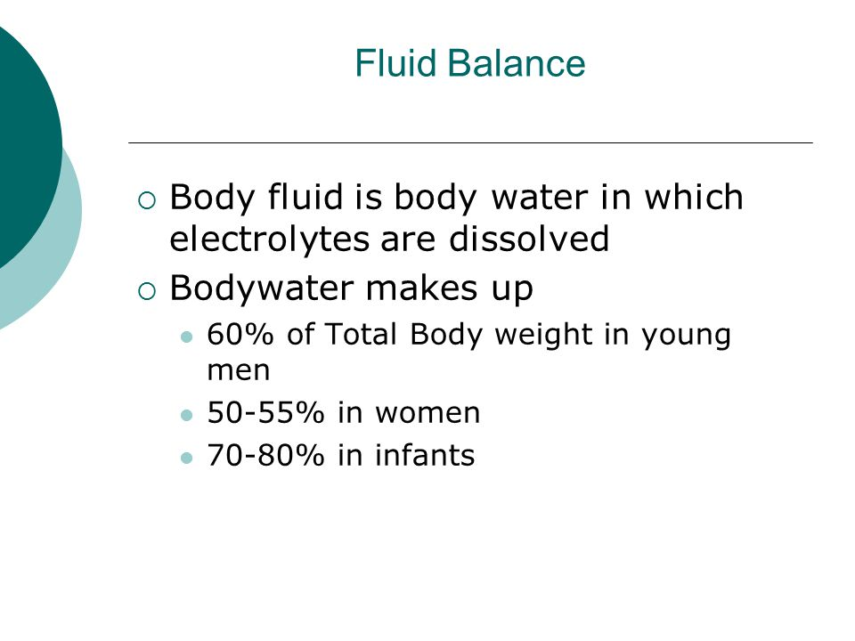 Fluid Balance Body fluid is body water in which electrolytes are dissolved. Bodywater makes up. 60% of Total Body weight in young men.