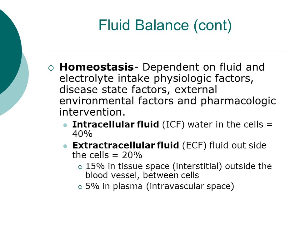 Fluid Balance (cont)