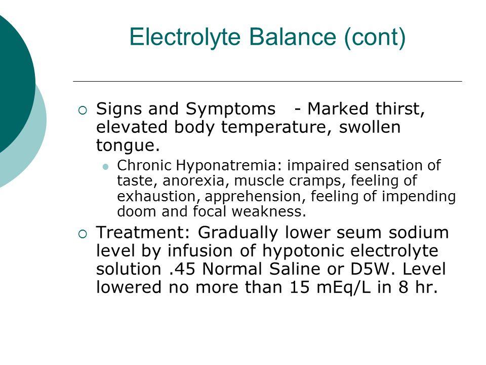 Electrolyte Balance (cont)