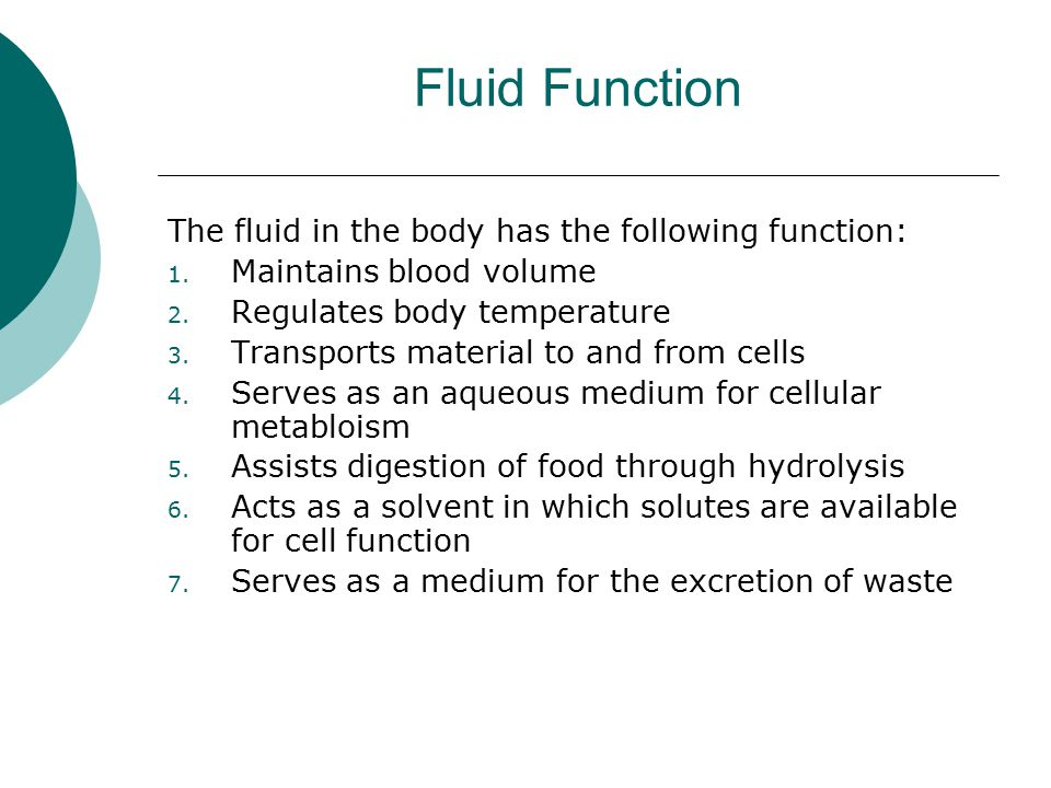 Fluid Function The fluid in the body has the following function: