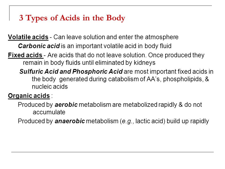 3 Types of Acids in the Body