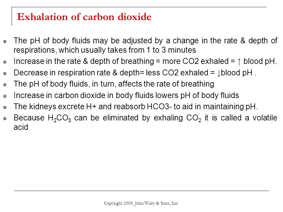 Exhalation of carbon dioxide