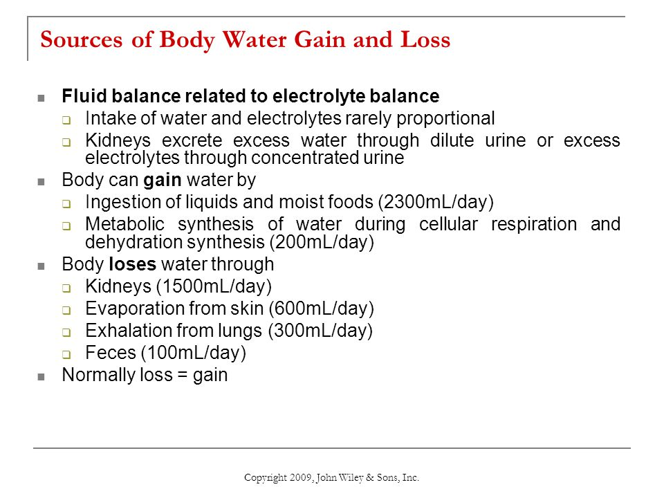 Sources of Body Water Gain and Loss