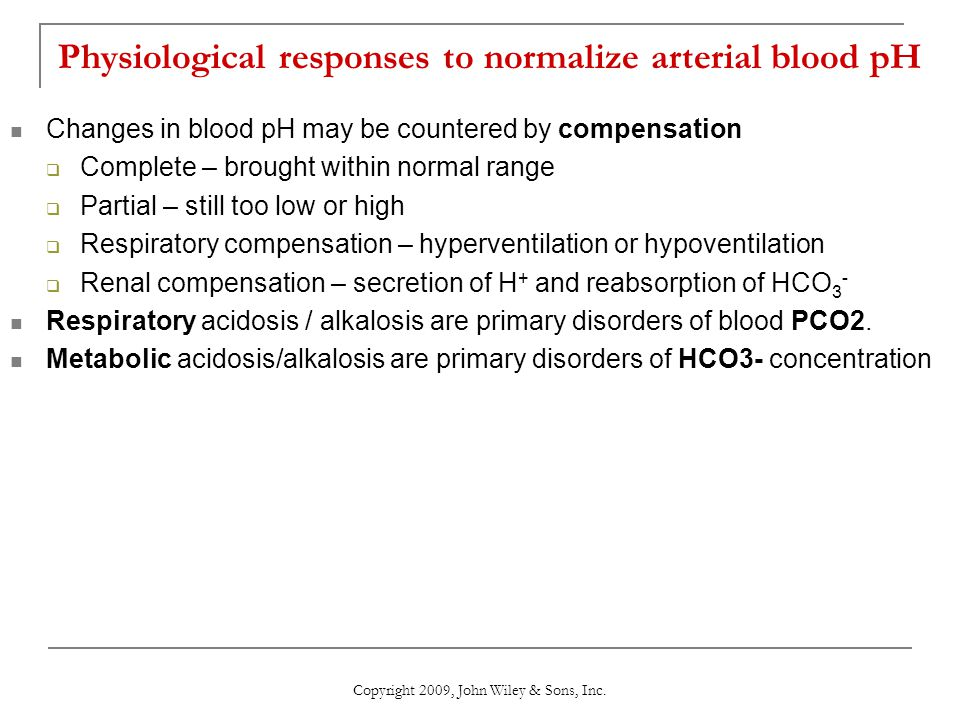 Physiological responses to normalize arterial blood pH