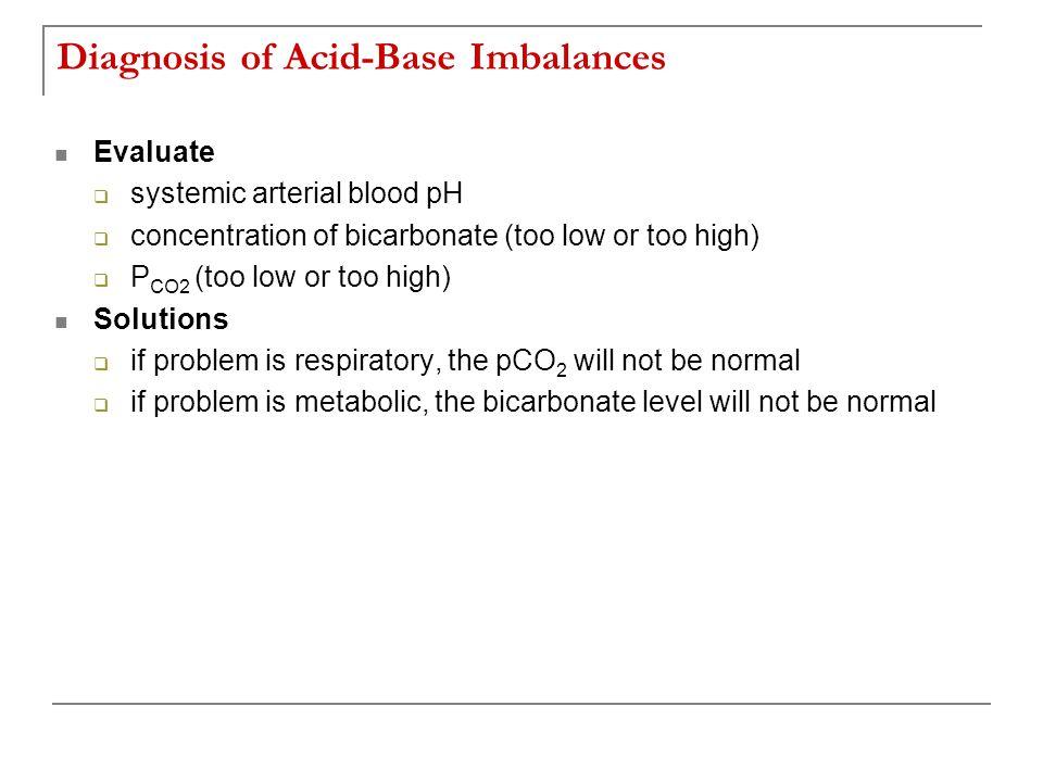 Diagnosis of Acid-Base Imbalances