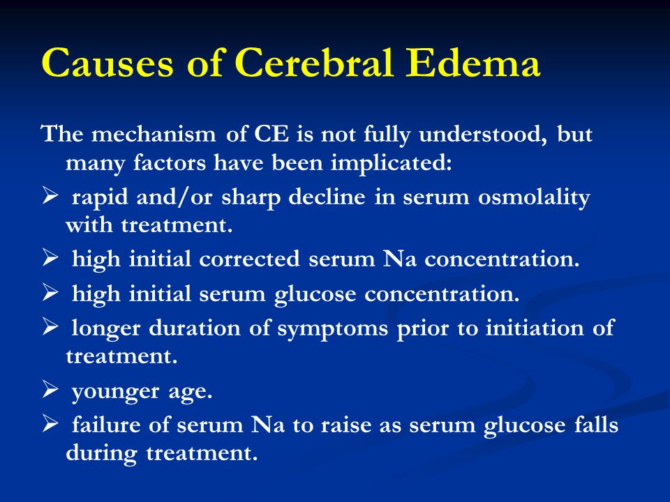 Causes of Cerebral Edema