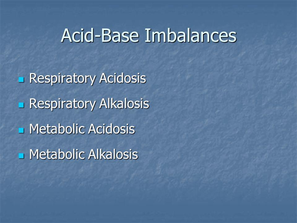 Acid-Base Imbalances Respiratory Acidosis Respiratory Alkalosis