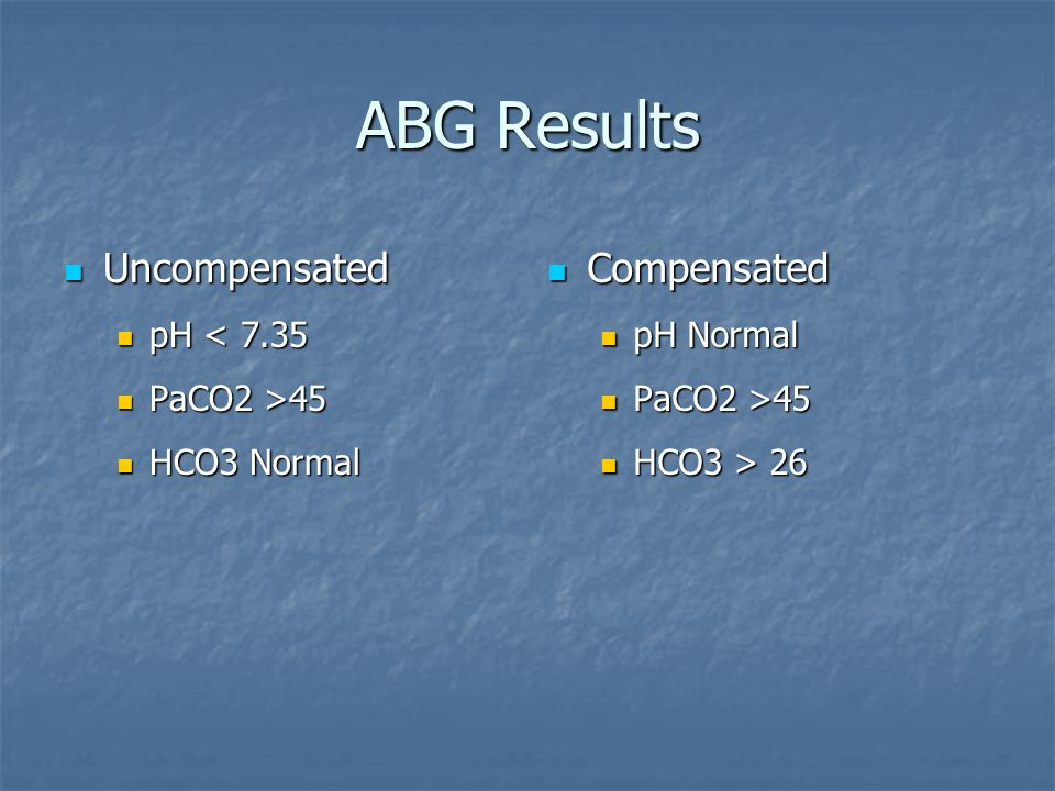 ABG Results Uncompensated Compensated pH < 7.35 PaCO2 >45