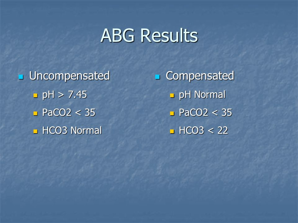 ABG Results Uncompensated Compensated pH > 7.45 PaCO2 < 35
