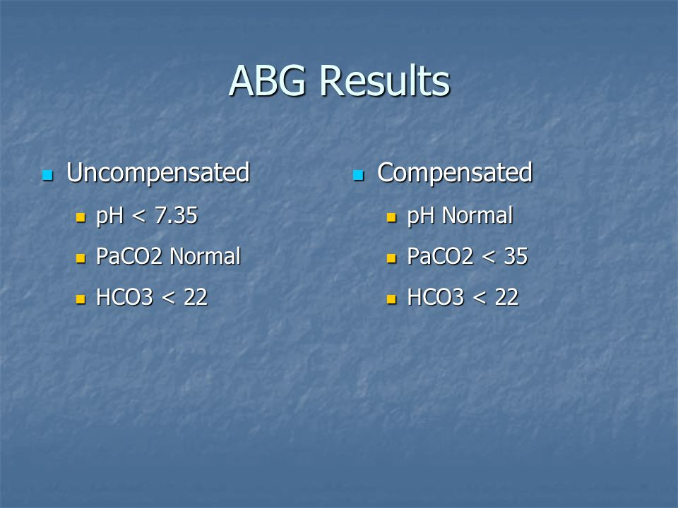 ABG Results Uncompensated Compensated pH < 7.35 PaCO2 Normal