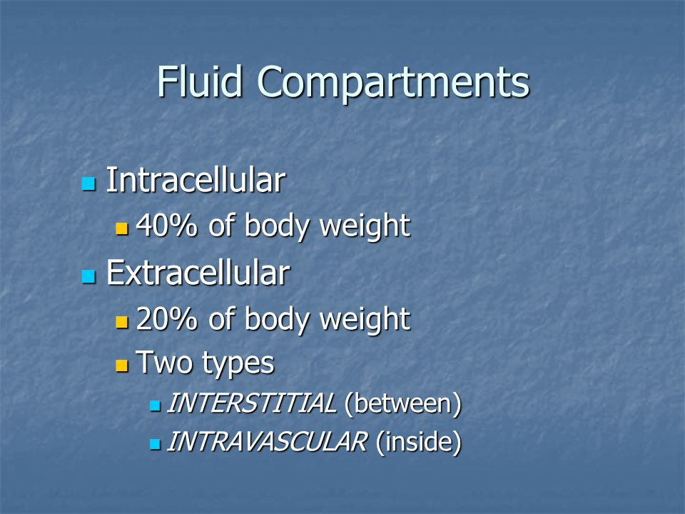 Fluid Compartments Intracellular Extracellular 40% of body weight