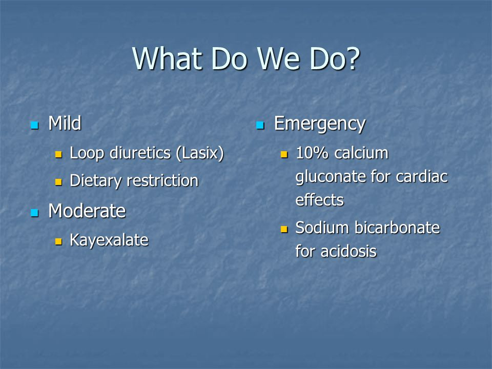 What Do We Do Mild Moderate Emergency Loop diuretics (Lasix)